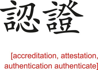 Chinese Sign for accreditation, authentication authenticate