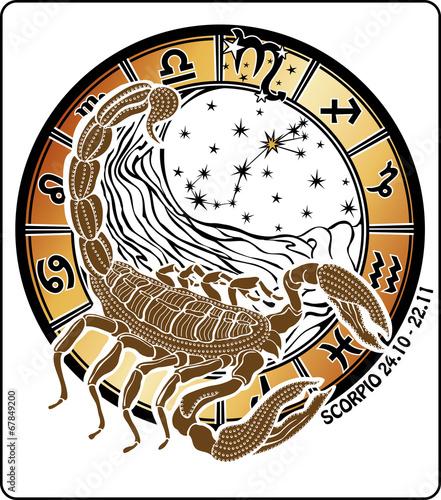 Plexiglas Retro Scorpio zodiac sign.Horoscope circle.Vector Illustration