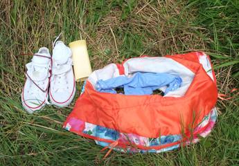 Summer fun, dress, underwear & sun lotion