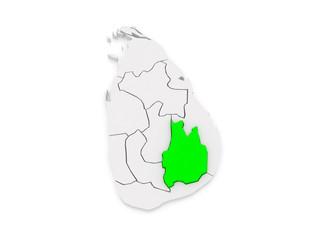 Map of Uva. Sri Lanka.