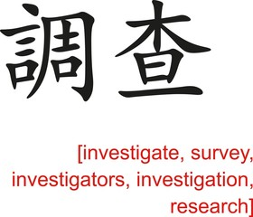 Chinese Sign for investigate, survey, investigators,research