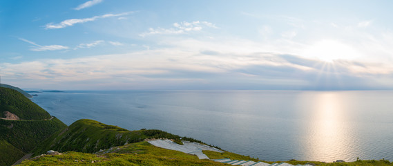 Panorama of Cabot Trail from Skyline Trail look-off