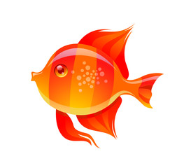 Cute Golden Fish Cartoon Vector Illustration