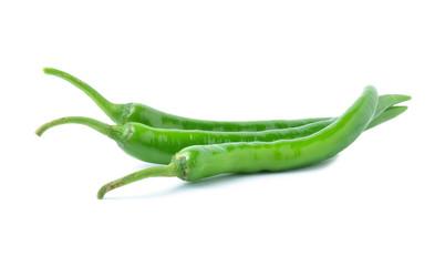 Green pepper on white