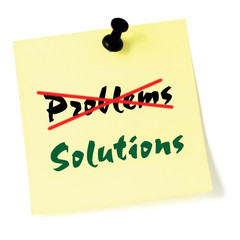Crossing out problems writing solutions sticker yellow isolated