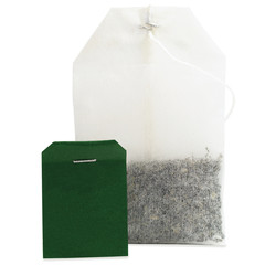 Teabag macro closeup, isolated large detailed green blank empty