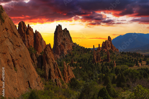 Sunset Image of the Garden of the Gods. - 67850241