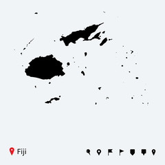 High detailed vector map of Fiji with navigation pins.