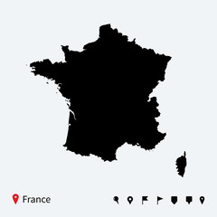 High detailed vector map of France with navigation pins.