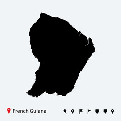 High detailed vector map of French Guiana with navigation pins.