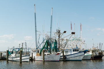 Shrimp Boats at dock USA Gulf Coast