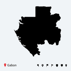 High detailed vector map of Gabon with navigation pins.