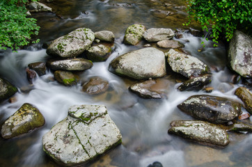 Slow Shutter Speed of Creek Through Rocks