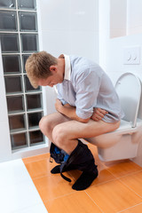 Man during morning toilet at home