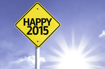 Happy 2015 road sign with sun background