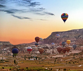 Balloons flying over Cappadocia Turkey