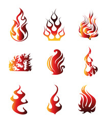 Fire Symbol Icons Vector