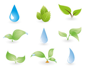 Illustration of Set of Water and Leaves Icon