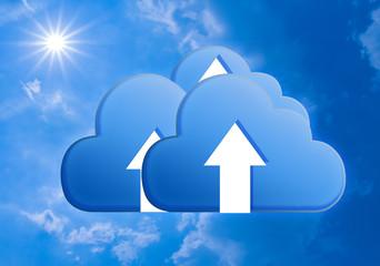 Blue Cloud on sky ; Cloud computing concept.