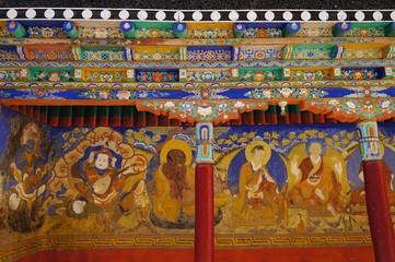 Beautiful detail of Thiksey Monastory in Ladakh
