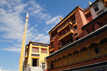 Compound of Thiksey monastery in Leh,  India