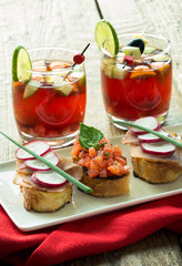 red sangria et bruschetta