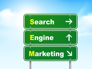 3d search engine marketing road sign