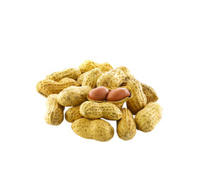 Peanut drying shelled on white background