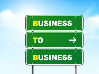 3d business to business road sign