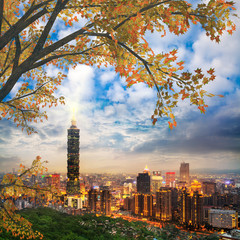 Taipei, Taiwan evening skyline