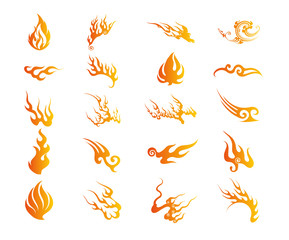 Set of Graphic Design Elements - Fire Floral