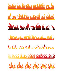 Set of Decorative Flame Fire Design Elements