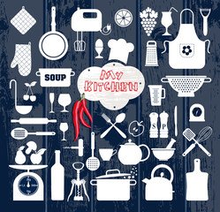 Kitchen abstact icons set