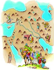 Mapa de la ruta de Abraham a la tierra prometida