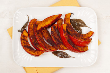 Roasted pumpkin on plate