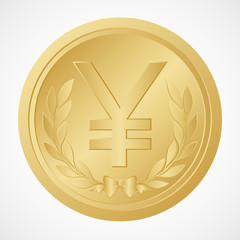 Gold Yen Coin with Yuan Symbol – Chinese Money – Illustration