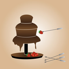chocolate fountain and strawberries eps10