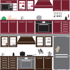 kitchen unit set with equipment eps10