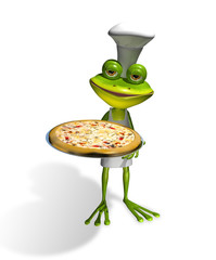 frog chef with pizza