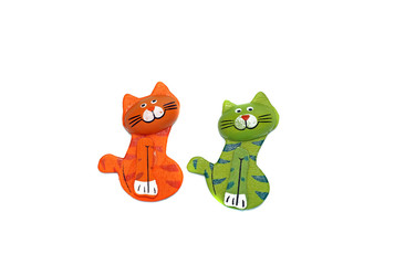 Two wooden cat figure brightly painted in orange and green