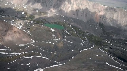 Flying over a mountain lake 3500 meters above sea leve