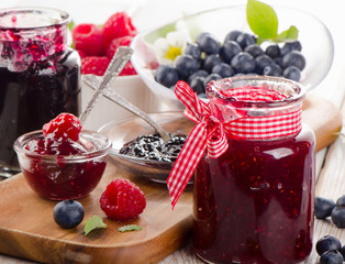 Jam with fresh berries