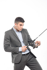 man and fishing rod