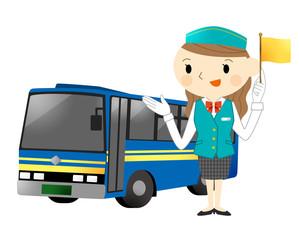 バスとバスガイド