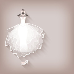 bride dress and wreath