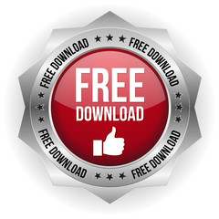 Red free download button on white background