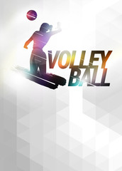 Volleyball flat polygon background