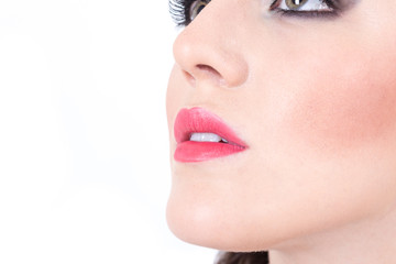 closeup of girl's beautiful nose and red lips