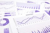 purple business charts, graphs, data and report summarizing back poster