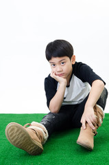 portait of asian boy  in a depressed mood .